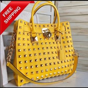 Michael Kors Pyramid Studded Yellow Hamilton Tote